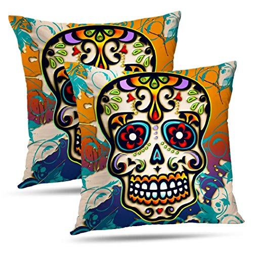 Sonder-Shop Sugar Skull Floral Kissenbezug Überwurf Kissenbezüge Sugar Skull Mexico Day Square Kissen für Couch Schlafsofa 2er Set Sugar Skull Mexico