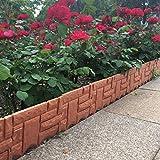 qiguch66 Garden Decorative Edging Fence, Faux Brick Landscape Fencing for Patios Gardens, Lawn Edge Border, Small Animal Barriers, 9.45' x 8.66', 6Pcs