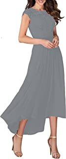 Sponsored Ad - Mother of The Bride Dress Chiffon with O-Neck Lace for Prom Simple Formal Gown