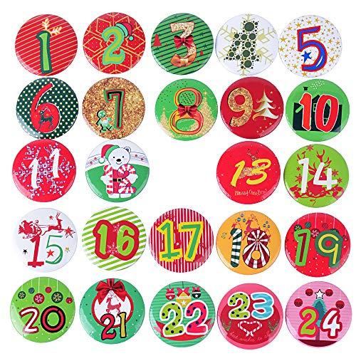 BUONDAC 24pcs Botones Chapas Navidad Broches Insignias Navidad para Calendario de Adviento Manualidades Decoración Adornos Navideños Números 1-24