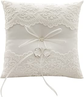 Awtlife Lace Pearl Wedding Ring Pillow Ivory Cushion Bearer