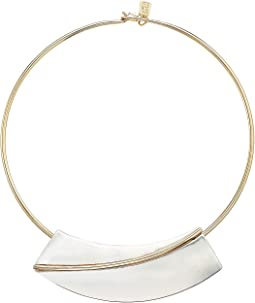 Two-Tone Geometric Round Wire Collar Necklace