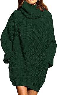 Pink Queen Women's Loose Oversize Turtleneck Wool Long Pullover Sweater Dress