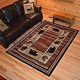 Rustic Lodge, Bear Cabin 2x3 Area Rug, 26'x39' Multi 7463