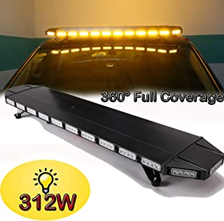 SMALLFATW 48 Inch Amber Rooftop Emergency Warning Light Bar Professional Design 312W High Intensity Low Profile Strobe Light Bar with New Version Remote Controller for Vehicles, Tow Trucks, Snow Plow