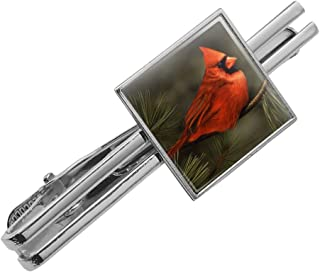 Northern Cardinal Red Pine Perch Satin Chrome Plated Metal Money Clip