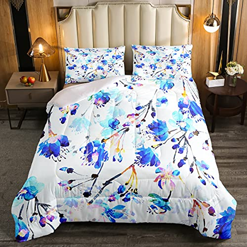 Juego de edredón de doble tamaño de flores, juego de cama floral de acuarela azul, juegos de cama juvenil,Dreaming Garden Art Work cepillado microfibra suave decoración de cama