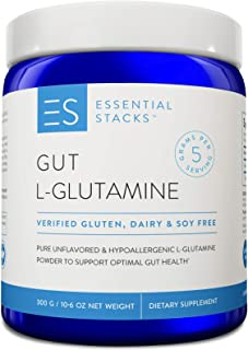 Essential Stacks Gut L-Glutamine Powder - Gluten Free, Dairy Free, Soy Free, Non-GMO & Hypoallergenic with 3rd Party Verified Allergen Testing - Pure Unflavored L Glutamine for Optimal Gut Health