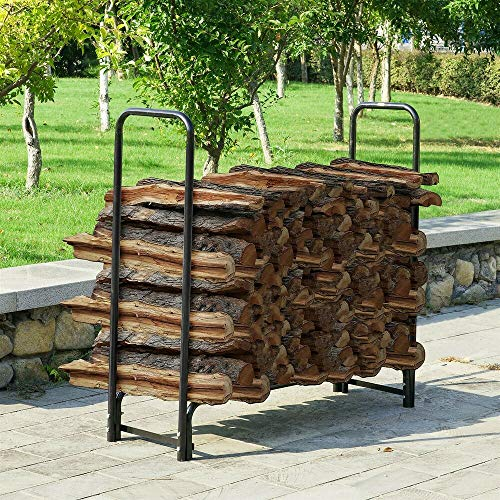 New (4 Ft) Metal Log Rack Outdoor Stacking Wood Steel Tubing Backyard Lumber Storage