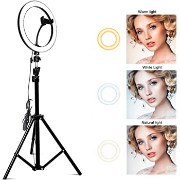 Ring Light with Stand OEBLD Selfie Light Ring with iPhone Tripod and Phone Holder for Video Photography Makeup Live Streaming YouTube Lighting (B(10.2''Ring Light & 20''Tripod))