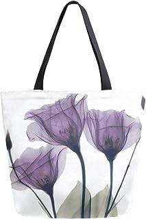 HMZXZ RXYY Lilac lila Blumen- Blume Segeltuch Tasche Schwer Pflicht Groß Frauen Beiläufig Schulter Tasche Handtasche Wiederverwendbar Einkaufen Tasche Bag für Draußen Reise