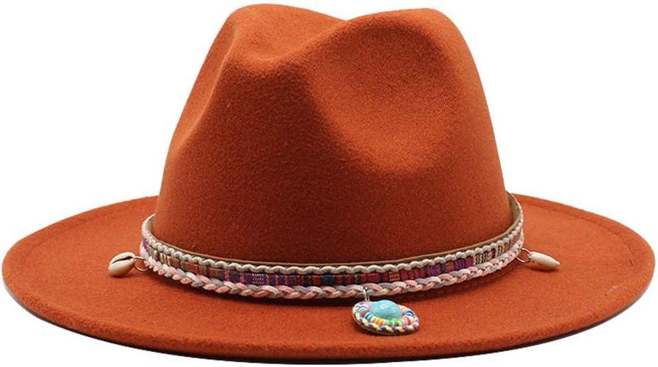 LHZUS Hats Ladies Men's Cotton Wide Brim Hat Retro Jazz Fedora Hat Couple Hat Winter Elegant Panama Hat Woven Tassel (Color : Brick red, Size : 56-58cm)