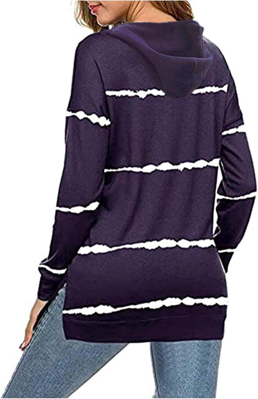 Jaqqra Hoodies for Women, Womens Zip Up Striped Printing Hoodie Tops Drawstring Sweatshirt Long Sleeve Pullover Tops