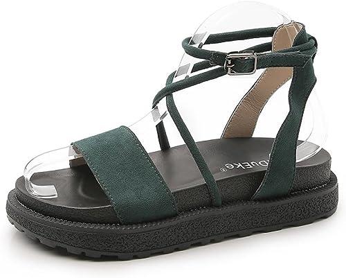 LNGXE Femmes Sandal Chaussures Pantoufles HAH-L-K6 Boucle Boucle de Ceinture Délicate Plage Mode été des Plat Sandales Chaussons,KJJDE