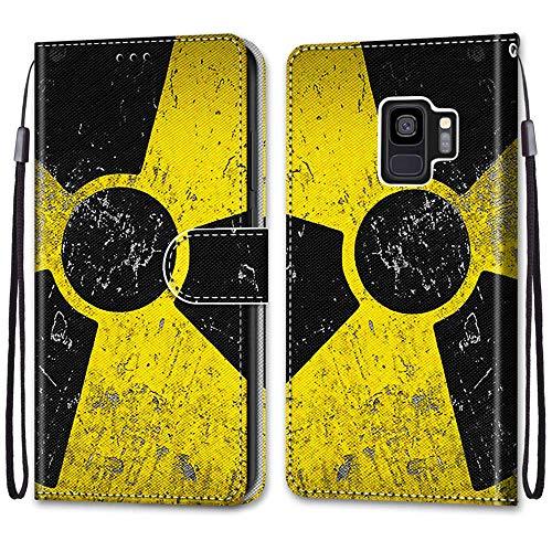 Nadoli Handyhülle Leder für Samsung Galaxy S9,Bunt Bemalt Schwarz Gelb Zeichen Trageschlaufe Kartenfach Magnet Ständer Schutzhülle Brieftasche Ledertasche Tasche Etui