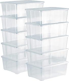 Grizzly Lot de 10 Boites de Rangement avec Couvercle - 10 L - Caisses empilables en Plastique Transparent - pour vêtement...