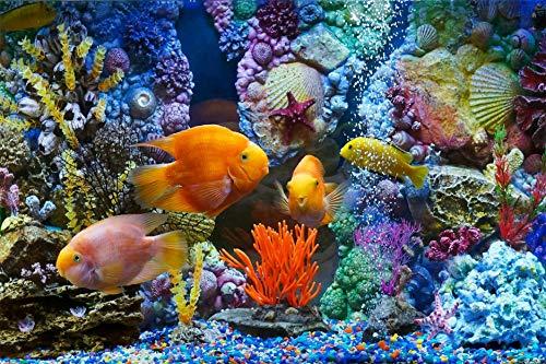 QNWLKJ Puzzles pour Adultes Et Enfants Poissons D'Aquarium Corail Coquilles Bricolage 3D Panoramique Coloré Puzzle Art Cadeau, 1500 Pièces