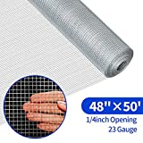 Amagabeli 48in X 50ft Hardware Cloth 1/4 Inch Square Galvanized Chicken Wire Welded Fence Mesh Roll Raised Garden Bed Plant Supports