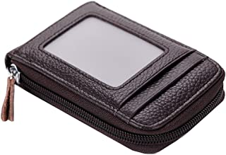 Heshe Womens Leather Card Case Organizer Zippered Around Ladies Cases Holder (Coffee)