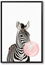 Bubble Chewing Gum Giraffe Zebra Animal Posters Canvas Art Painting Wall Art Nursery Decorative Picture Nordic Style Kids Deco,50x75cm No Frame,AN135-2