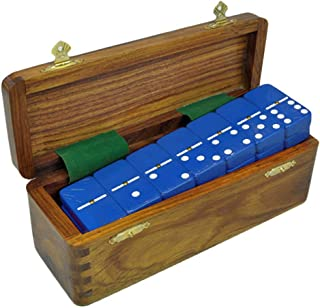 Marion and Co Double Six Light Blue Jumbo Tournament Domino Set with Spinners in Sheesham Wood Box