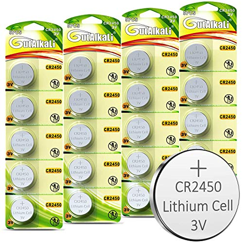 GutAlkaLi CR2450 Lithium-Knopfzellen, 20 Stück 3V Lithium Knopfzelle Elektro CR 2450 Lithium (CR2450-20er)