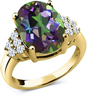 4.40 Ct Oval Green Mystic Quartz White Topaz 18K Yellow Gold Plated Silver Ring