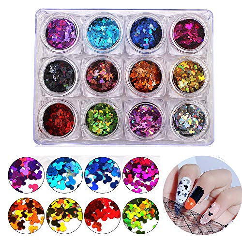 Bonnie-Sam 12 Colors Cute Mouse Ear Nail Glitters for Acrylic Nails Holographic Shining Sparkly Theme Crafts Sequins
