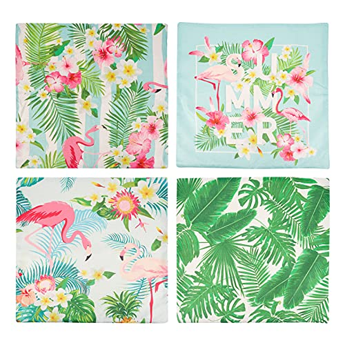 Amosfun 4 fundas de cojín de flamenco, para plantas tropicales, fundas de cojín rústicas, florales, fundas de cojín para casas, protectores de verano, temática de fiesta