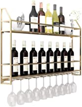 Wall Mounted Metal Home Wine Rack | Wine Bottle | Hanging Stemware Glass Holder | Storage Rack for Living Room and Kitchen...