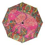 Paraguas de Viaje pequeño a Prueba de Viento al Aire Libre Lluvia Sol UV Auto Compacto 3 Pliegues Cubierta de Paraguas - Elefante y Mandala