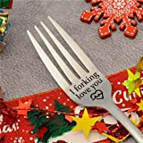 Personalized Stainless Steel Engraved Fork, Unique Carving Fork, Best Gift for Husband Wife and Family Dinner, Wedding Dating Letter Engraved Fork (I forking love you)