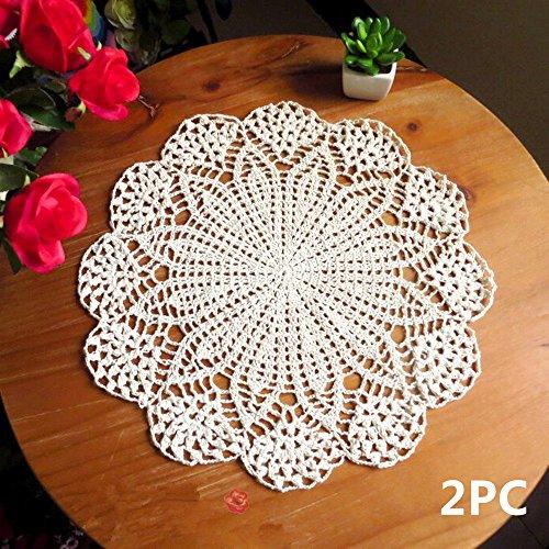 USTIDE 2pieza algodón Hecho a Mano Crochet Encaje Mesa Mantel Individual...