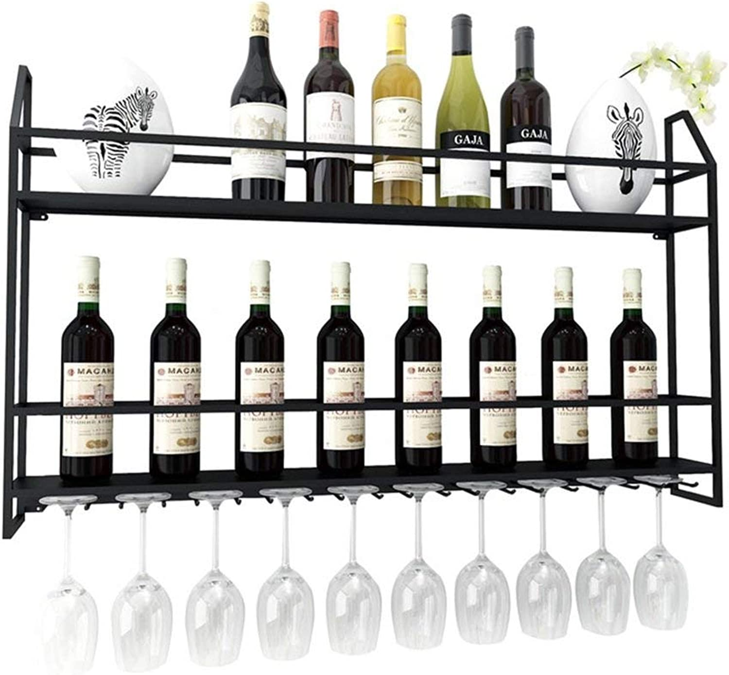Red Wine Shelf European Wall Hanger Metal Wine Rack   Vintage Shelf Rack   Cube Wine Cabinet Bottle Holder   Wall Decor (color   Black) (color   Black)