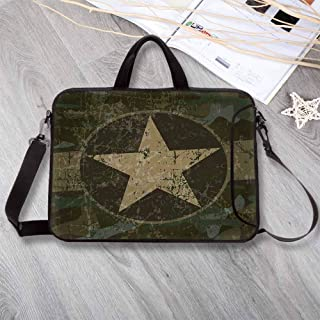 "Camo Stylish Neoprene Laptop Bag,Grunge Dusty Dirty Design with a Star in Circle Undercover War Theme Laptop Bag for Business Casual or School,14.6""L x 10.6""W x 0.8""H"