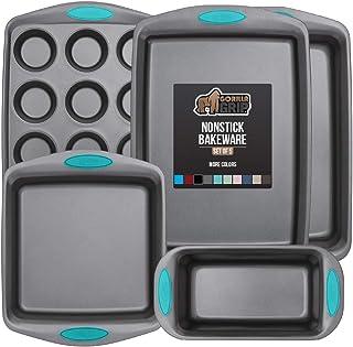Gorilla Grip Bakeware Sets, Nonstick, Heavy Duty Carbon Steel, 5 Piece Kitchen Baking Set, Silicone Handles, Cookie Sheet,...