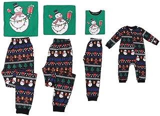 Weixinbuy Christmas Pajamas Family Matching Pjs Set Long Sleeve Round Collar Snowman Sleepwear Homewear Set