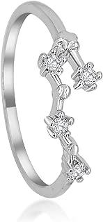 Zodiac Constellation Ring Jewelry with Cubic Zirconia Stones Made of Zinc, Steel & Brass. Birthday Gift.