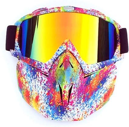 Meet World Motorrad Schutzbrille Mit Abnehmbarer Maske Motocross Dirt Bike Reiten Radfahren Motorradsport Off Road Goggle Brille Rutsch Verstellbaren Riemen Retro Helm Brille Rosa Küche Haushalt