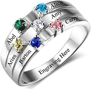 Lam Hub Fong Personalized Sterling Silver Mothers Rings with 6 Simulated Birthstones Rings for Mom Mother Grandmother Gifts for Mother's Christmas