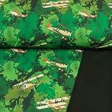 Softshell Stoff Flugzeuge grün Kinderstoffe - Preis Gilt