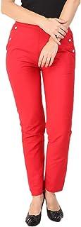 Makxziya Women's Red Regular Fit Rayon Trouser