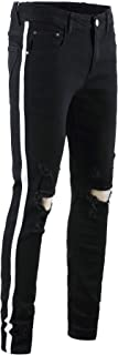 Men's Casual Distressed Ripped Jeans Skinny Stretchy Side Color Ribbon Pants