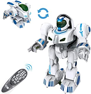 fisca Remote Control Robot RC Fingerprinting Transform Smart Walking Dancing Intelligent Programmable Robots Toys with Light and Sound for Kids Boys Girls