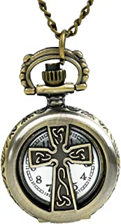 Women's Brass Vintage Celtic Cross Pendant Ornate Pocket Watch Necklace Chain Small Back Flower