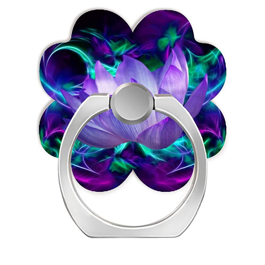 Cell Phone Ring Holder Cellphone Finger Stand 360 Degree Rotation Work for iPhone X 6 7 8 Plus S8 S9 Smartphone Tablet-Purple Lotus Flower