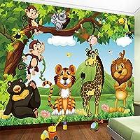 カスタム壁画壁紙3D漫画動物の世界の子供の子供の寝室の背景の壁画環境に優しい不織布壁紙3D, 250cm×175cm
