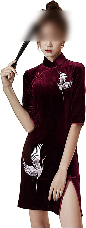 Cheongsam Dress Qipao New Year Gothic Velvet for Women Solid Par