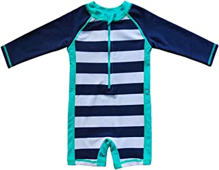Baby Beach One-Piece Swimsuit UPF 50+ -Sun Protective Sunsuit, Blue 0/3M