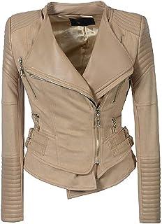 SportsX Women's Front Zipper Outwear Moto Slim Fitted PU Leather Jackets